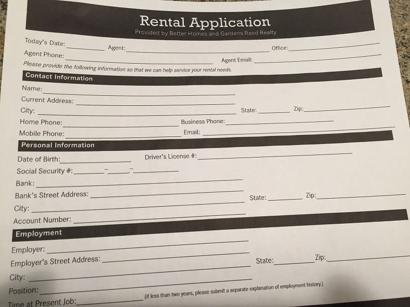 Up front requirements for renting a home