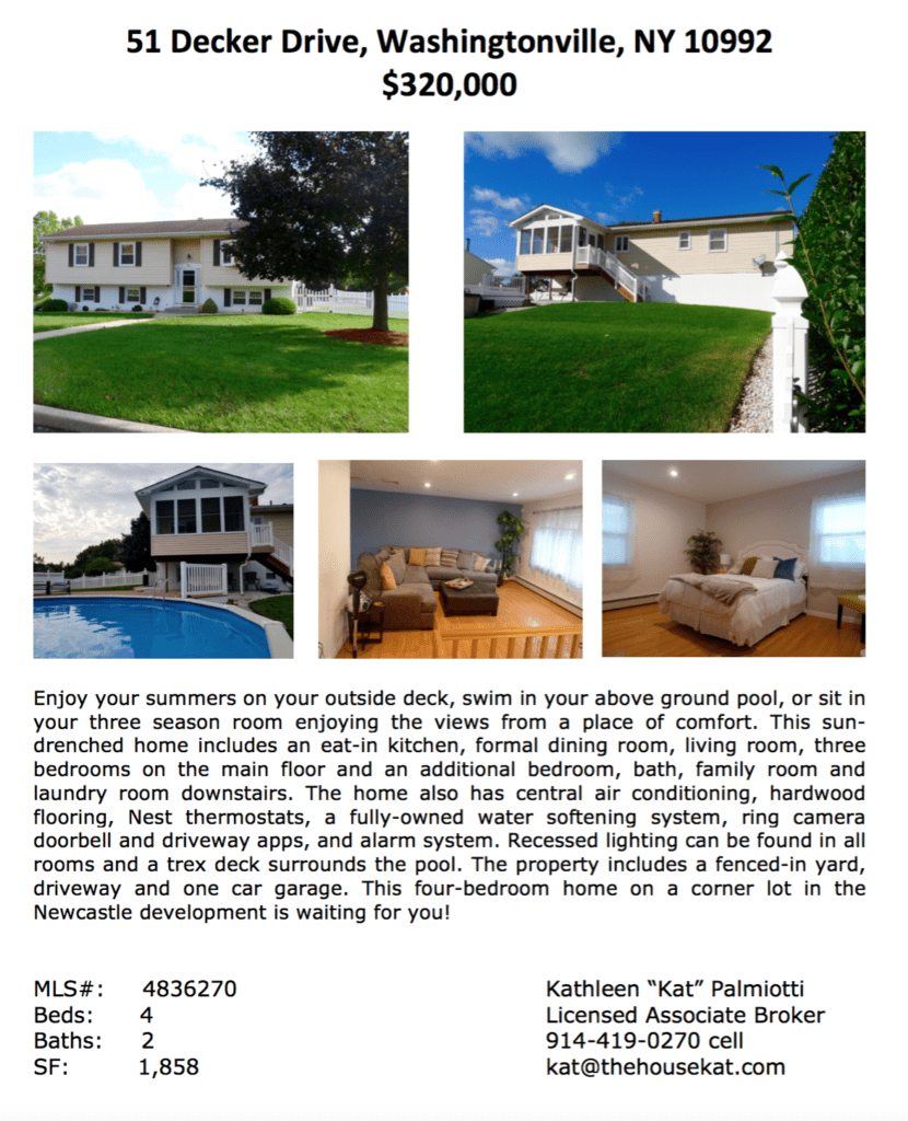 For Sale/Open House: 51 Decker Drive, Washingtonville, NY 10992