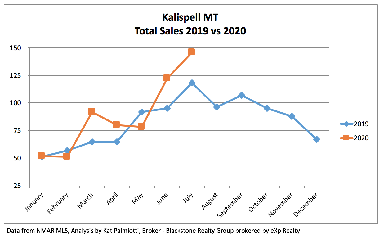 Kalispell Real Estate Market - July 2020 chart of sales results