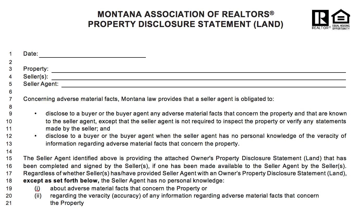Kalispell Land Seller Process photo of disclosure form